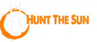 hunt the sun logo with transparent background and white byline
